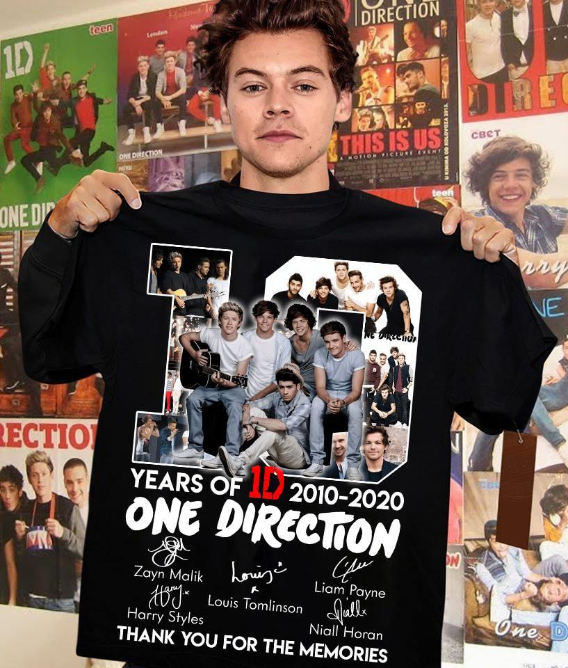 10 Years Of One Direction 2010 - 2020 Members Signature And Thank You For The Memories Shirt