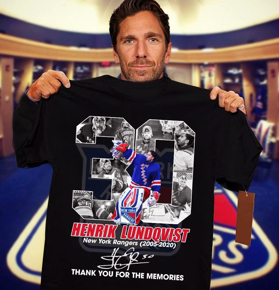 30 Years Of Henrik Lundqvist New York Rangers Signature And Thank You For The Memories Shirt
