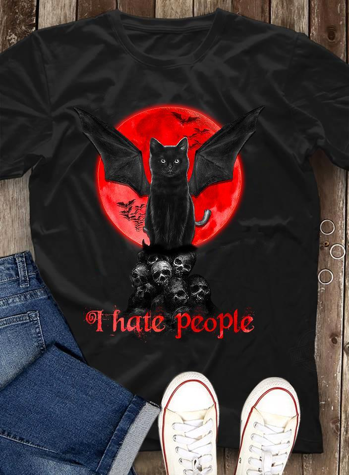 Black Cat And Hate People Shirt