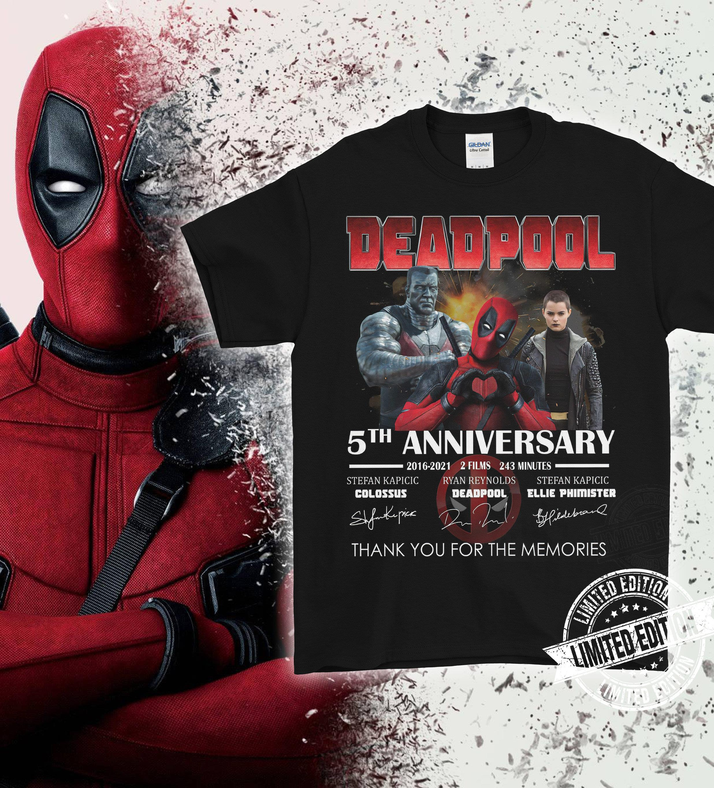 Deadpool 5th Anniversary Signature And Thank You For The Memories Shirt
