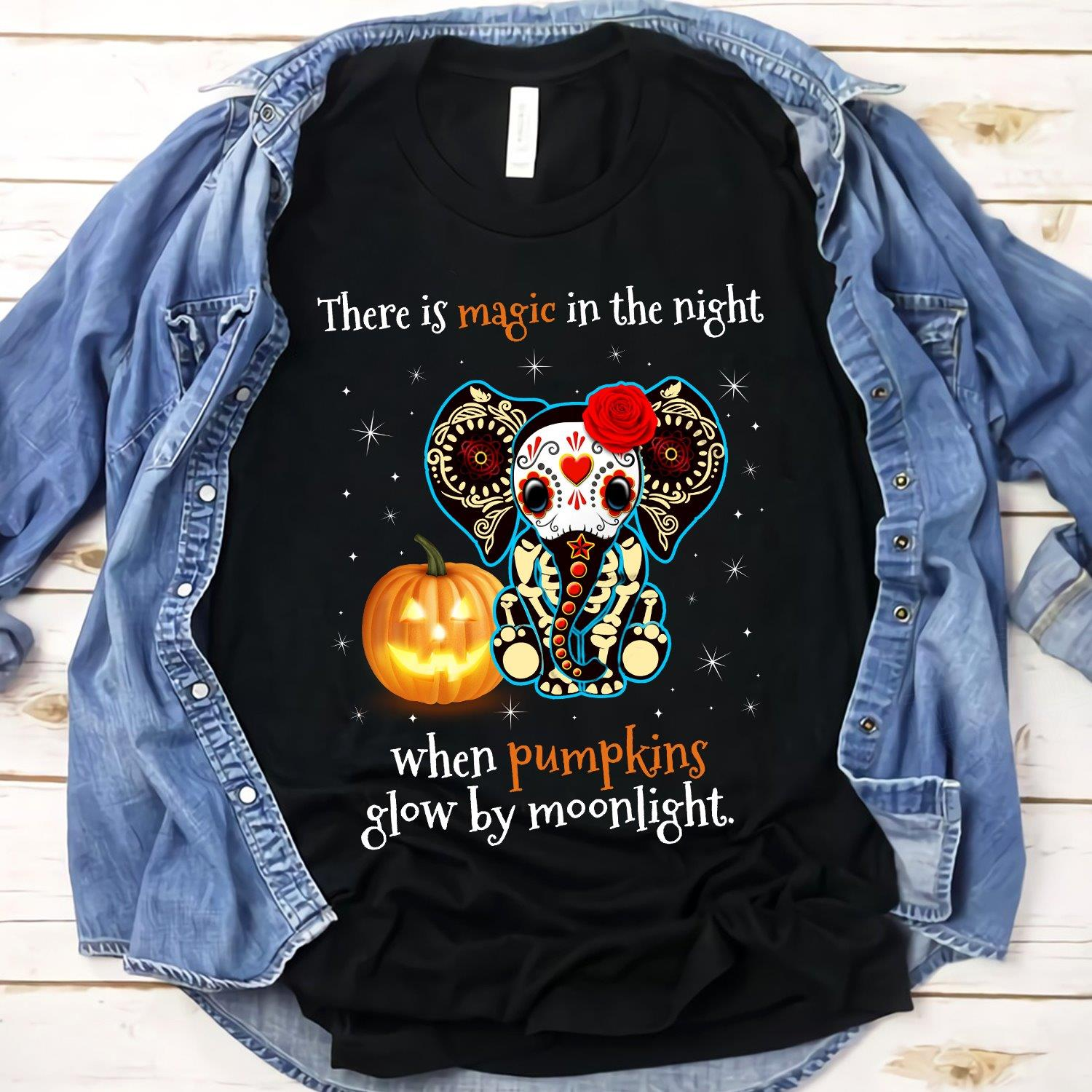 Elephant There Is Magic In The Night When Pumpkins Glow By Moonlight Shirt