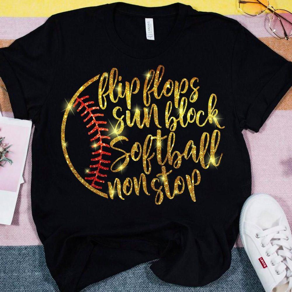 Flip Flops Sun Block Softball Nonstop Shirt